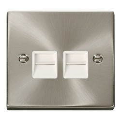 Click Deco Victorian Satin Chrome Twin Telephone Socket Outlet Secondary with White Insert