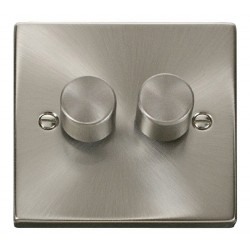 Click Deco Victorian Satin Chrome 2 Gang 2 Way 400W Dimmer Switch