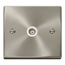Click Deco Victorian Satin Chrome Single Isolated Coaxial Socket Outlet with White Insert