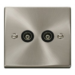 Click Deco Victorian Satin Chrome Twin Isolated Coaxial Socket Outlet with Black Insert