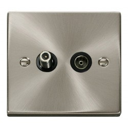 Click Deco Victorian Satin Chrome 1 Gang Satellite and Coaxial Socket Outlet with Black Insert