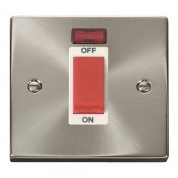 Click Deco Victorian Satin Chrome 1 Gang 45A Double Pole Switch With Neon with White Insert