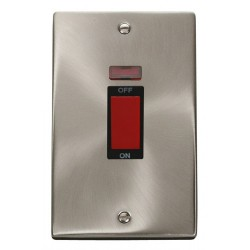 Click Deco Victorian Satin Chrome 2 Gang 45A Double Pole Switch With Neon with Black Insert