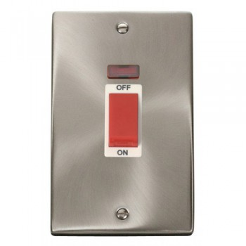 Click Deco Victorian Satin Chrome 2 Gang 45A Double Pole Switch With Neon with White Insert