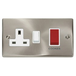 Click Deco Victorian Satin Chrome 45A Double Pole Switch and 13A Switched Socket with White Insert