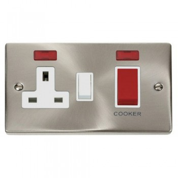 Click Deco Victorian Satin Chrome 45A Double Pole Switch and 13A Switched Socket with Neons (2) with White Insert