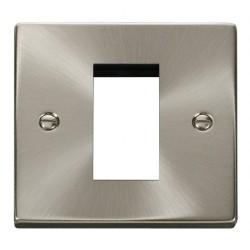Click Deco Victorian Satin Chrome Single Plate Single Media Module Aperture