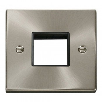 Click Deco Victorian Satin Chrome 1 Gang Plate Twin Aperture with Black Insert