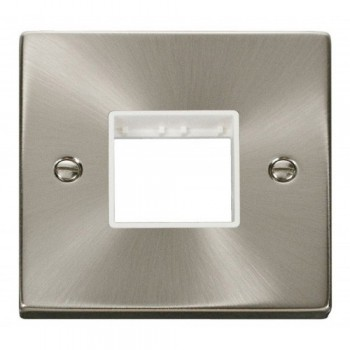 Click Deco Victorian Satin Chrome 1 Gang Plate Twin Aperture with White Insert