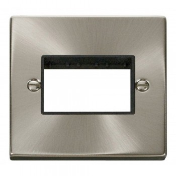 Click Deco Victorian Satin Chrome 1 Gang Plate Triple Aperture with Black Insert