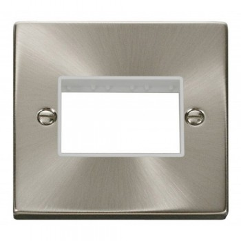Click Deco Victorian Satin Chrome 1 Gang Plate Triple Aperture with White Insert