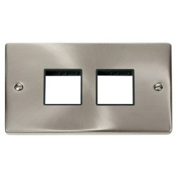 Click Deco Victorian Satin Chrome 2 Gang Plate (2 x 2) Aperture with Black Insert