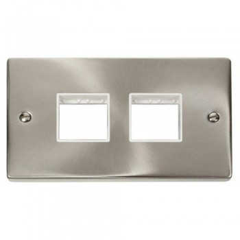 Click Deco Victorian Satin Chrome 2 Gang Plate (2 x 2) Aperture with White Insert