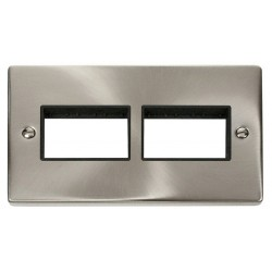 Click Deco Victorian Satin Chrome 2 Gang Plate (3 x 3) Aperture with Black Insert