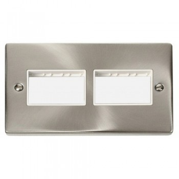 Click Deco Victorian Satin Chrome 2 Gang Plate (3 x 3) Aperture with White Insert