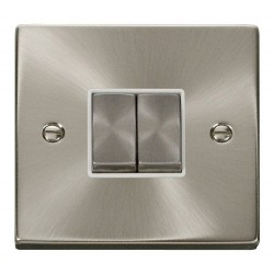Click Deco Victorian Satin Chrome 2 Gang 2 Way Ingot 10AX Switch with White Insert