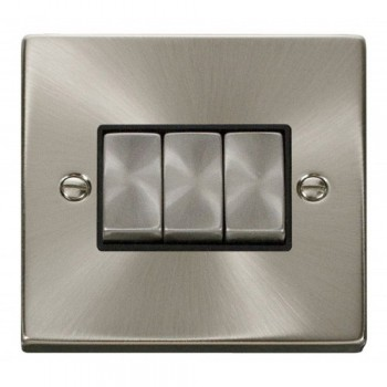 Click Deco Victorian Satin Chrome 3 Gang 2 Way Ingot 10AX Switch with Black Insert
