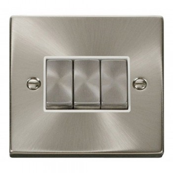 Click Deco Victorian Satin Chrome 3 Gang 2 Way Ingot 10AX Switch with White Insert