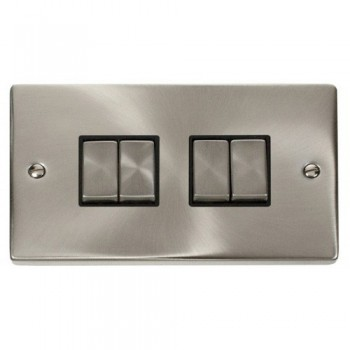 Click Deco Victorian Satin Chrome 4 Gang 2 Way Ingot 10AX Switch with Black Insert