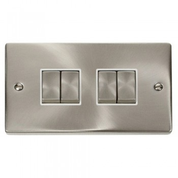 Click Deco Victorian Satin Chrome 4 Gang 2 Way Ingot 10AX Switch with White Insert
