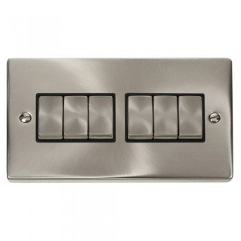 Click Deco Victorian Satin Chrome 6 Gang 2 Way Ingot 10AX Switch with Black Insert