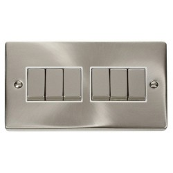 Click Deco Victorian Satin Chrome 6 Gang 2 Way Ingot 10AX Switch with White Insert