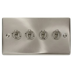 Click Deco Victorian Satin Chrome 4 Gang 2 Way 10AX Toggle Switch