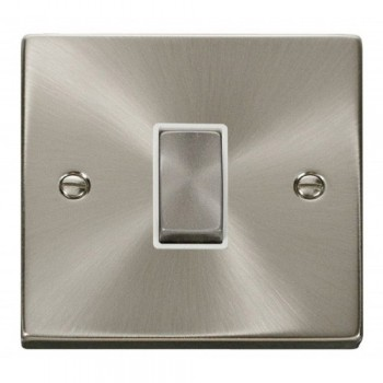 Click Deco Victorian Satin Chrome 1 Gang Intermediate Ingot 10AX Switch with White Insert