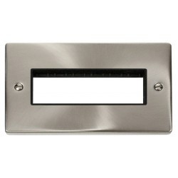 Click Deco Victorian Satin Chrome 2 Gang Plate 6 In-Line Aperture with Black Insert