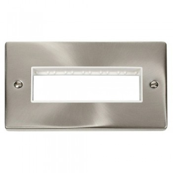 Click Deco Victorian Satin Chrome 2 Gang Plate 6 In-Line Aperture with White Insert