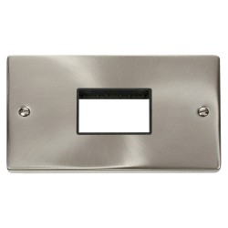 Click Deco Victorian Satin Chrome Double Minigrid Plate Triple Aperture with Black Insert