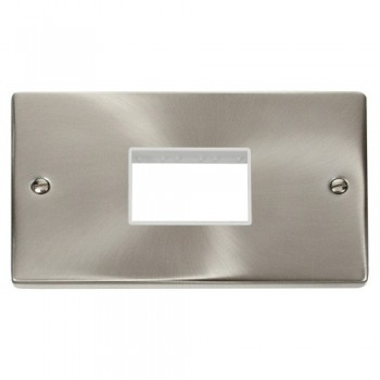 Click Deco Victorian Satin Chrome Double Minigrid Plate Triple Aperture with White Insert