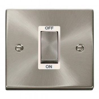 Click Deco Victorian Satin Chrome Ingot 1 Gang 45A Double Pole Switch with White Insert