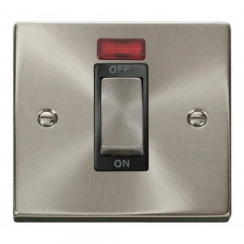 Click Deco Victorian Satin Chrome Ingot 1 Gang 45A Double Pole Switch With Neon with Black Insert