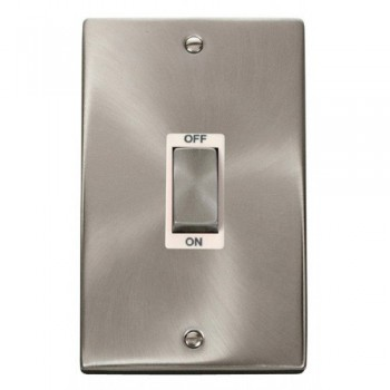 Click Deco Victorian Satin Chrome Ingot 2 Gang 45A Double Pole Switch with White Insert