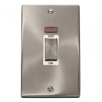 Click Deco Victorian Satin Chrome Ingot 2 Gang 45A Double Pole Switch With Neon with White Insert