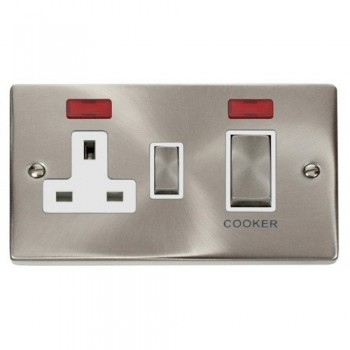 Click Deco Victorian Satin Chrome Ingot 45A Double Pole Switch and 13A Switched Socket with Neons (2) with White Insert