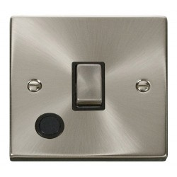 Click Deco Victorian Satin Chrome 20A 1 Gang Double Pole Ingot Switch With Flex Outlet with Black Insert