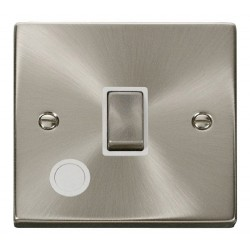 Click Deco Victorian Satin Chrome 20A 1 Gang Double Pole Ingot Switch With Flex Outlet with White Insert