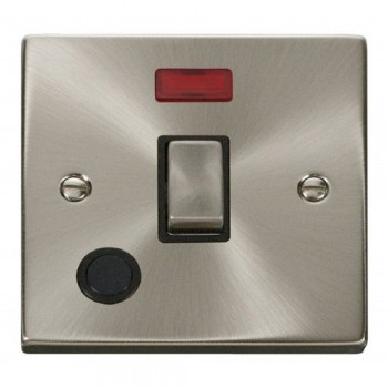Click Deco Victorian Satin Chrome 20A 1 Gang Double Pole Ingot Switch With Flex Outlet And Neon with Black Insert