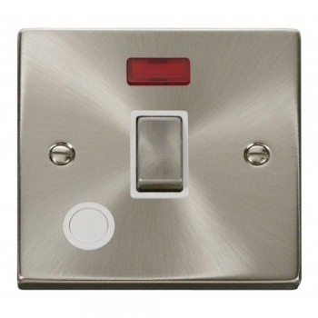 Click Deco Victorian Satin Chrome 20A 1 Gang Double Pole Ingot Switch With Flex Outlet And Neon with White Insert