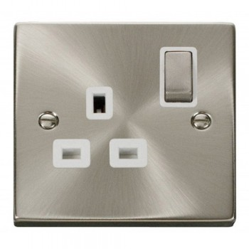 Click Deco Victorian Satin Chrome 1 Gang 13A Double Pole Ingot Switched Socket Outlet with White Insert