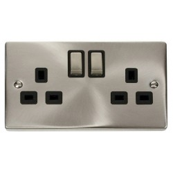 Click Deco Victorian Satin Chrome 2 Gang 13A Double Pole Ingot Switched Socket Outlet with Black Insert