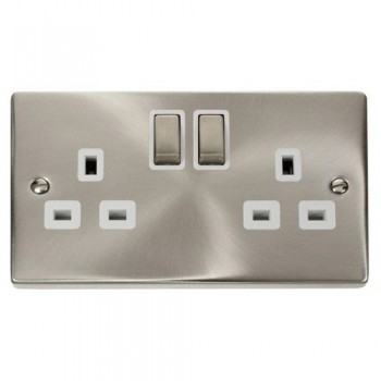 Click Deco Victorian Satin Chrome 2 Gang 13A Double Pole Ingot Switched Socket Outlet with White Insert