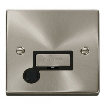 Click Deco Victorian Satin Chrome 13A Fused Ingot Connection Unit With Flex Outlet with Black Insert