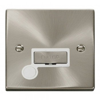 Click Deco Victorian Satin Chrome 13A Fused Ingot Connection Unit With Flex Outlet with White Insert