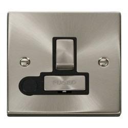 Click Deco Victorian Satin Chrome 13A Fused Ingot Switched Connection Unit With Flex Outlet with Black Insert