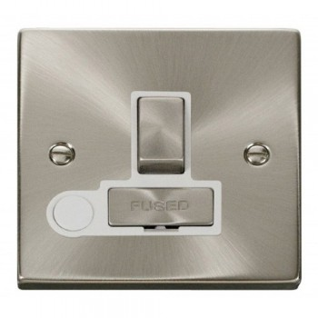 Click Deco Victorian Satin Chrome 13A Fused Ingot Switched Connection Unit With Flex Outlet with White Insert