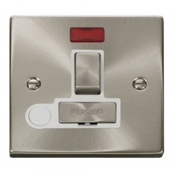 Click Deco Victorian Satin Chrome 13A Fused Ingot Switched Connection Unit With Flex Outlet with Neon with White Insert