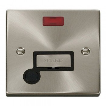 Click Deco Victorian Satin Chrome 13A Fused Ingot Connection Unit With Flex Outlet with Neon with Black Insert